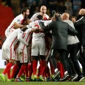 Los jugadores del Mónaco celebran el pase a cuartos de la Champions League