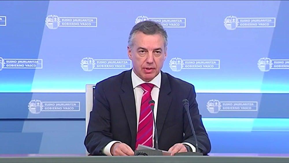 """Urkullu pide """"altura de miras"""" al gobierno español y francés y pide """"canales de comunicación centrados en el logro de un objetivo"""""""