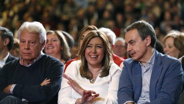 Susana Díaz, con Felipe González y José Luis Rodríguez Zapatero