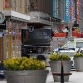 El camión del atentado en Estocolmo