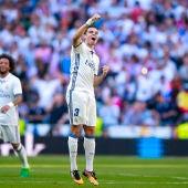 Pepe celebra su gol al Atlético en el Bernabéu