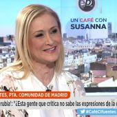 """Frame 349.844353 de: Cifuentes, sobre el 'tramabús' de Podemos: """"Es ridículo e infantil que a todos los extremistas les haya dado por sacar autobuses"""""""