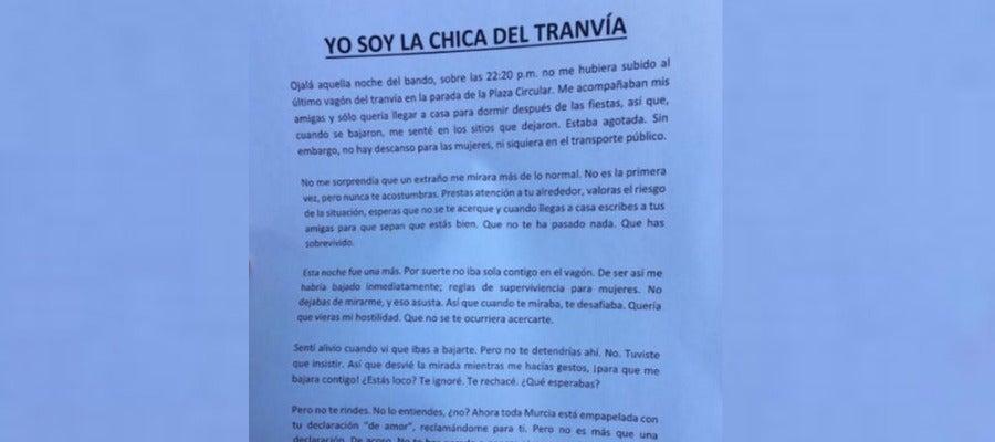 """Respuesta de la """"Chica del tranvía"""" de Murcia"""