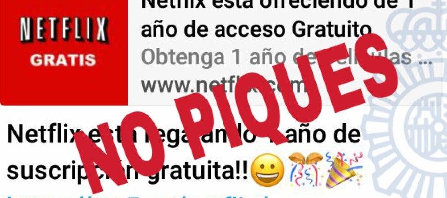 Nueva estafa en WhatsApp sobre Netflix