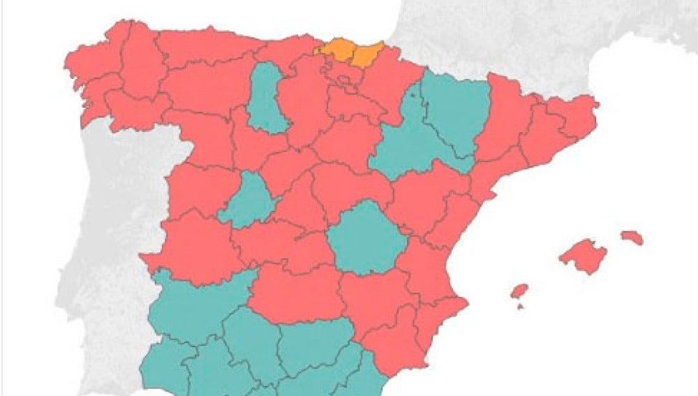 Escrutinio de las primarias del PSOE, por provincias