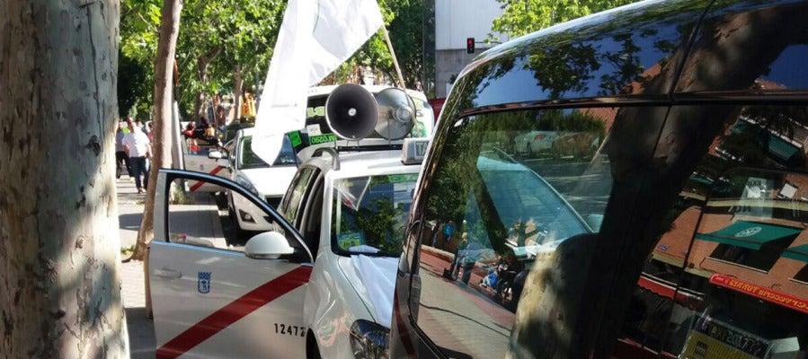 Taxis parados por la huelga en Madrid