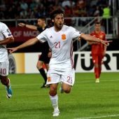 Silva celebra su gol ante Macedonia