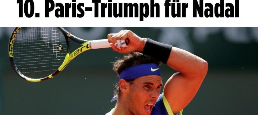 La portada de Bild tras el décimo Roland Garros