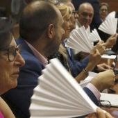 Los diputados del PSOE en la Asamblea de Madrid se abanican ante el consejero de Sanidad, Jesús Sánchez Martos