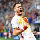 Saúl celebra su gol contra Portugal