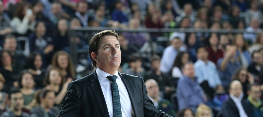 Xavi Pascual, en un partido de la Euroliga con Panathinaikos