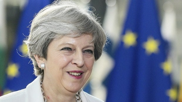 Theresa May a su llegada a la segunda jornada de la cumbre que se celebra en el Consejo Europeo