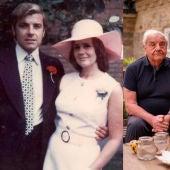 A la izquierda Tom y Pamela de jóvenes y a la derecha junto a su nieto