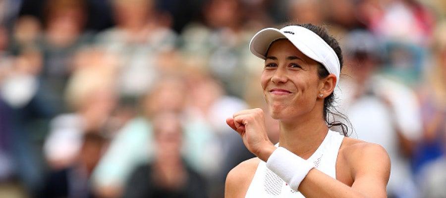Muguruza celebra una victoria en Wimbledon
