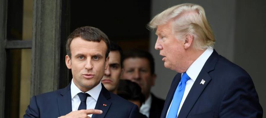 Emmanuel Macron y Donald Trump se reúnen en París