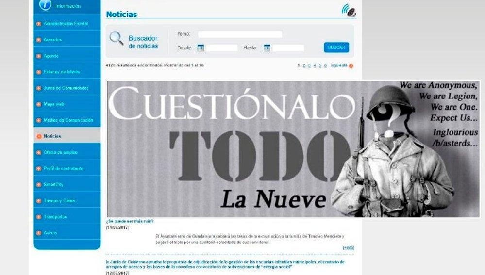 Anonymous 'hackea' la web del Ayuntamiento de Guadalajara