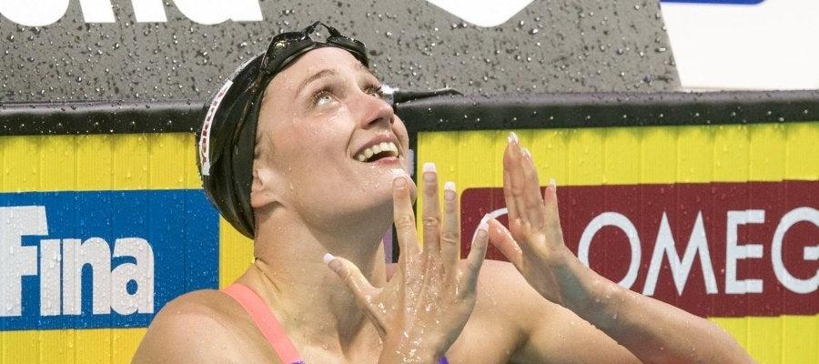Mireia Belmonte, tras acabar una prueba en el Mundial de Natación
