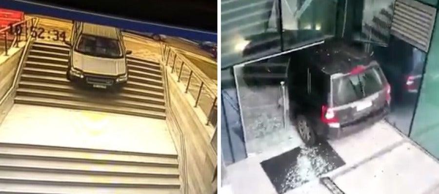 Una mujer confunde la entrada de un edificio con la de un parking subterráneo