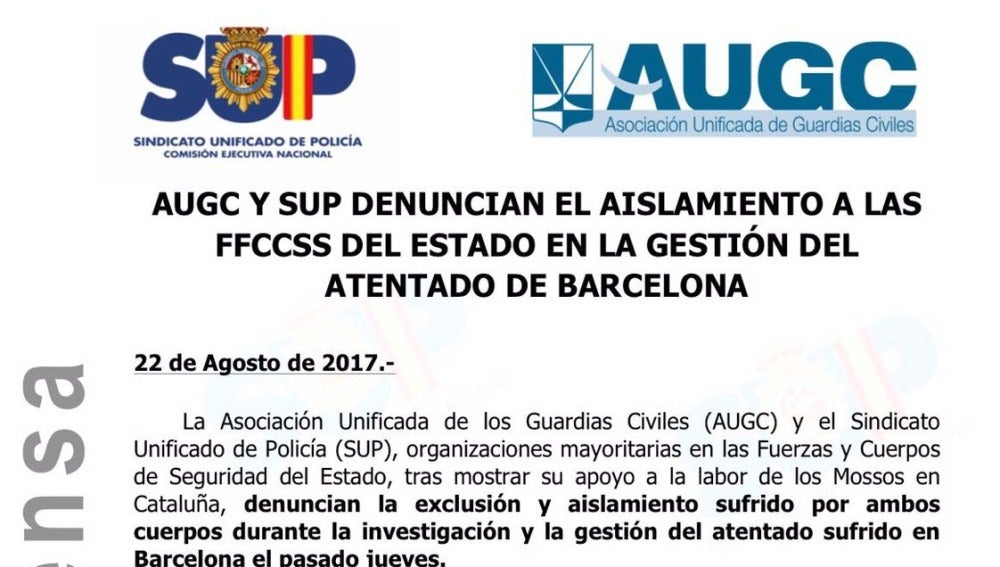 Comunicado del SUP y AUGC