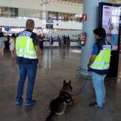 Agentes de la Policía Nacional en el Aeropuerto de Alicante-Elche