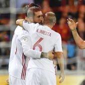 Los jugadores de la Selección celebran uno de los goles contra Liechtenstein