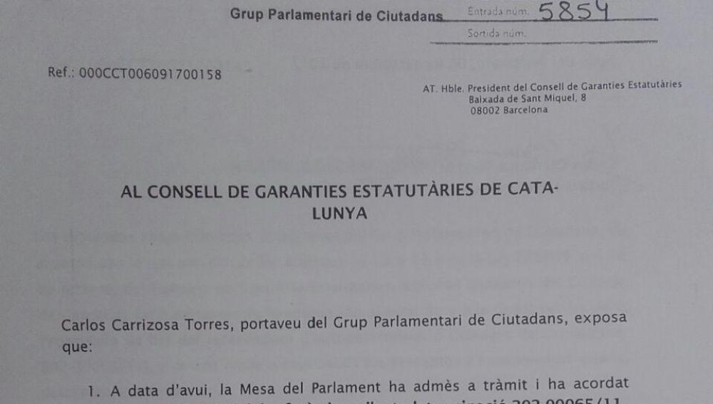 Ciudadanos pide dictamen al Consejo de Garantías