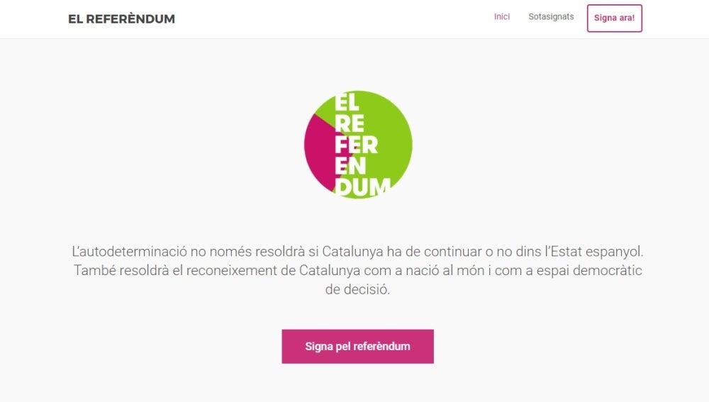 La página web que el Gobierno pone a disposición de los ciudadanos para firmar en apoyo del referéndum