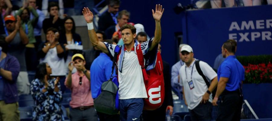 Pablo Carreño saluda en el US Open