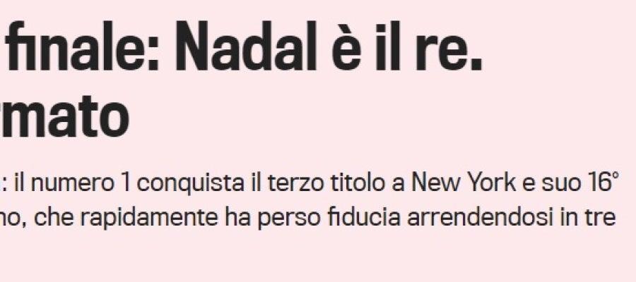 La portada de la Gazzetta dello Sport tras el triunfo de Nadal
