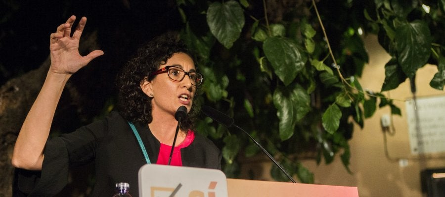 La secretaria general de ERC, Marta Rovira, en un acto del partido, previo a la Diada en el Fossar de les Moreres, en Barcelona