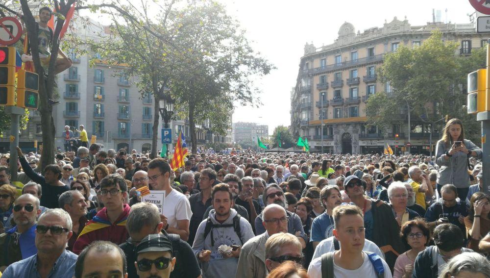 Concentración en Barcelona en contra de las detenciones y registros de la Guardia Civil