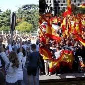 Banderas blancas y rojigualdas invaden Madrid por el diálogo y la unidad de España