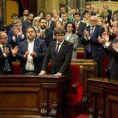 Carles Puigdemont, president de la Generalitat, en el Parlament