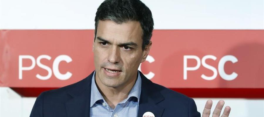 El secretario general del PSOE, Pedro Sánchez, durante una rueda de prensa