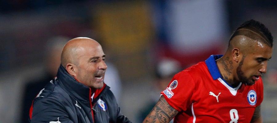 Sampaoli y Arturo Vidal en 2015