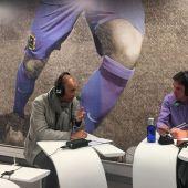 Antonio Calderón, entrenador del Fuenlabrada, junto a José Ramón de La Morena