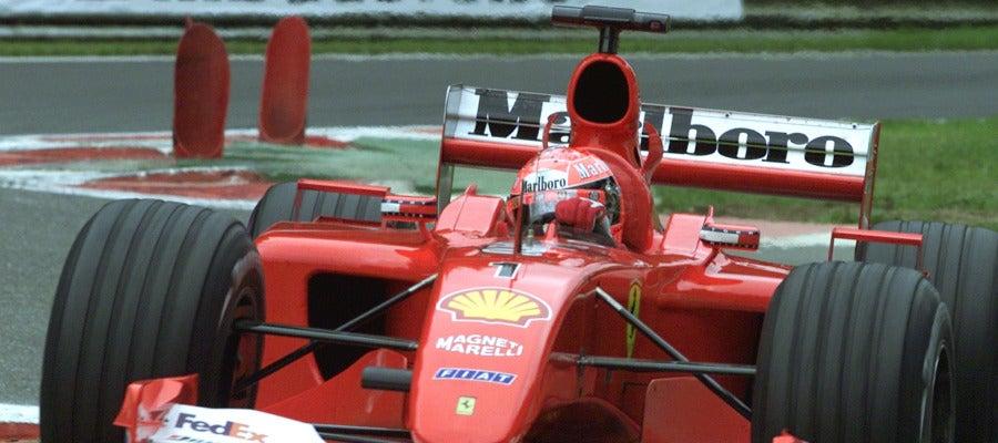Michael Schumacher, en Spa con el Ferrari F2001