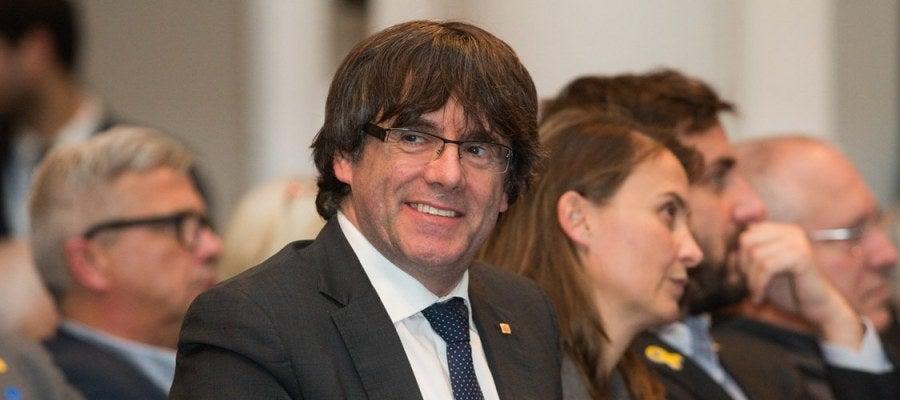 Puigdemont en el acto celebrado por 200 alcaldes independentistas en Bruselas