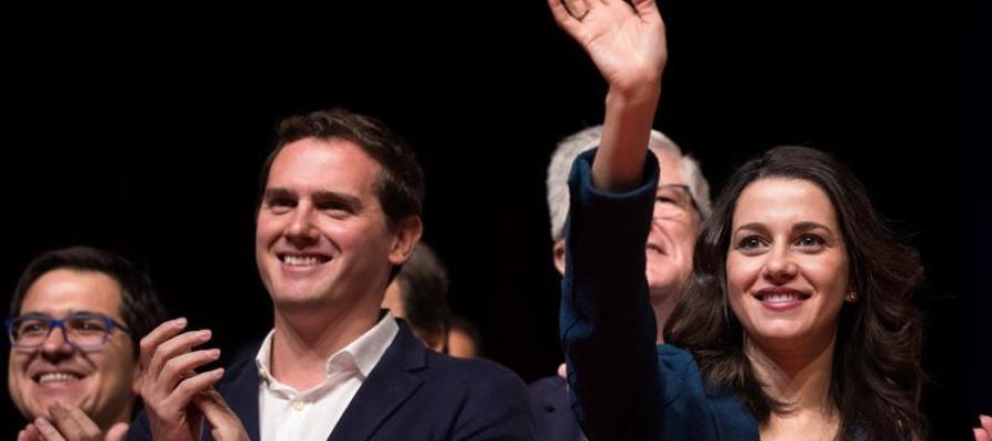 El presidente de Ciudadanos, Albert Rivera, y la líder de esta formación en Cataluña, Inés Arrimadas