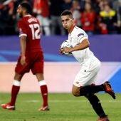 Ben Yedder celebra su gol ante el Liverpool