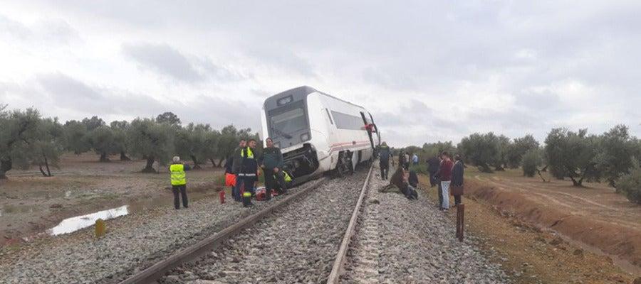 Tren Málaga-Sevilla que ha descarrilado
