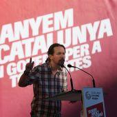 El secretario general de Podemos, Pablo Iglesias durante el acto central de campaña en Barcelona