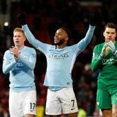 Sterling celebra una victoria del Manchester City