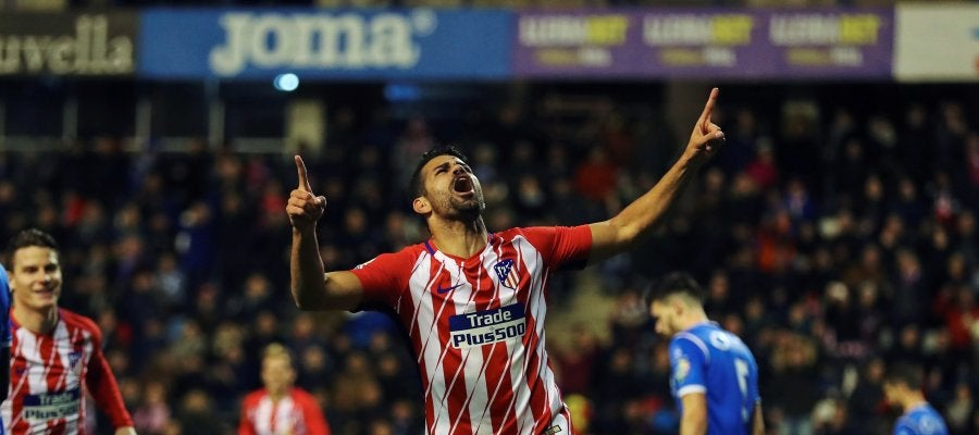 Diego Costa celebra su gol ante el Lleida