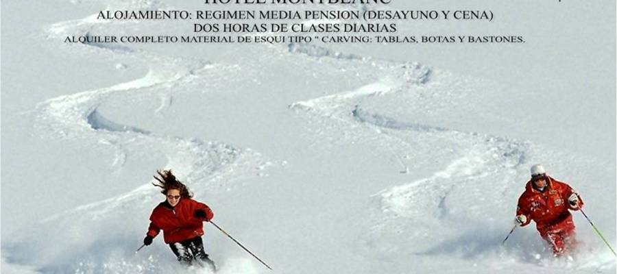 Cartel anunciador para ir a esquiar a Sierra Nevada