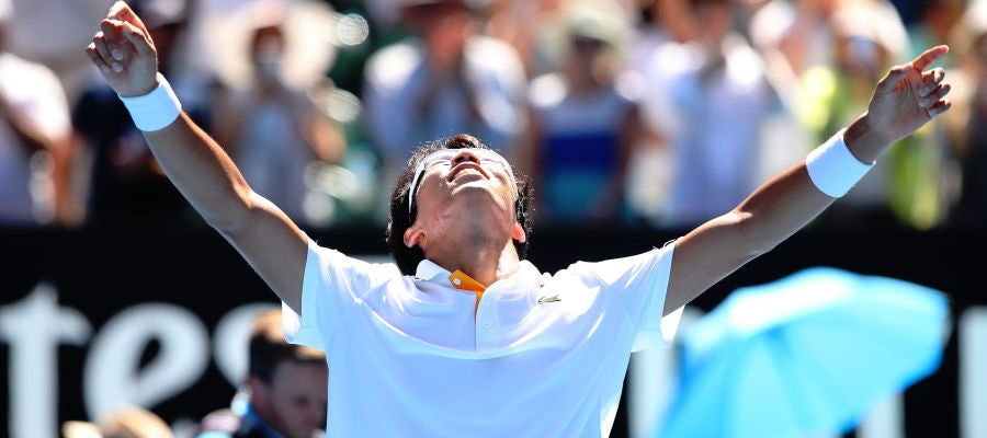 Hyeon Chung celebra su victoria ante Tennys Sandgren