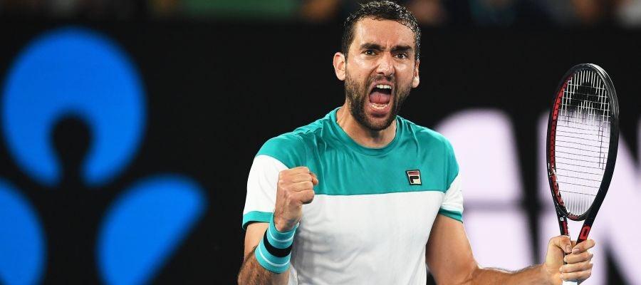 Marin Cilic celebra un punto en la semifinal del Open de Australia