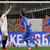 El Getafe celebrando el gol ante el Sevilla