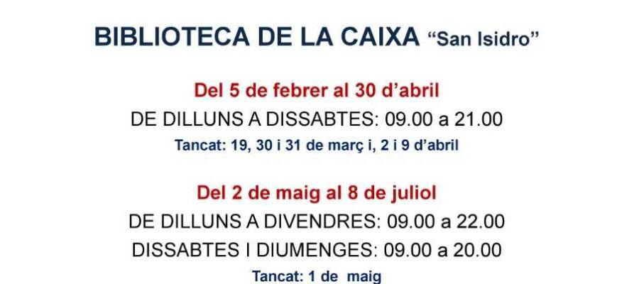 El Ayuntamiento de la Vall d'Uixó amplía el horario especial de estudio de la biblioteca de la Caja Rural San Isidro.