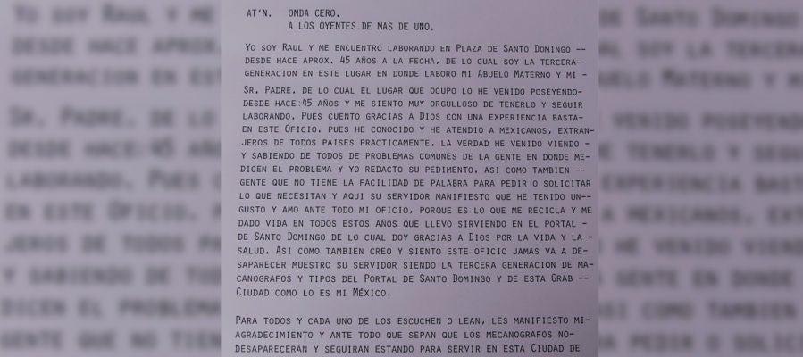 Carta escrita por el escribidor mexicano a los oyentes de Más de uno